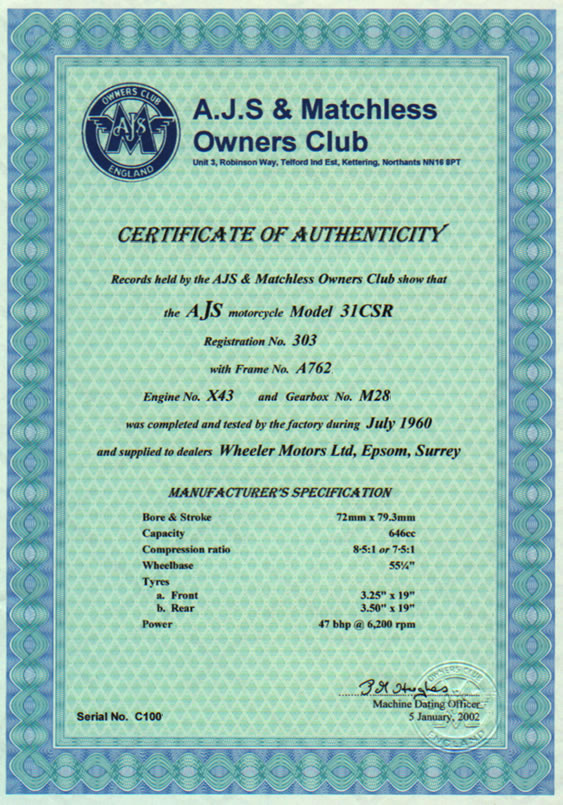 Vintage motorcycle club dating certificate