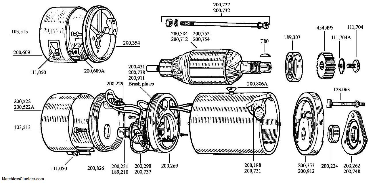 exploded view of electric motor